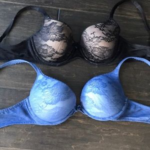 Body By Victoria Lace Push Up Bras Lot of 2